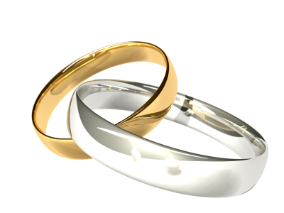 Gold and Platinum/Silver Rings - Reflected Candles